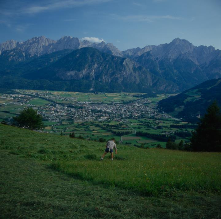 Vista su Lienz, Zettersfeld con falciatore in primo piano